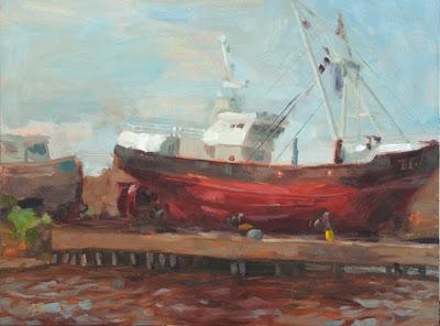 Shipyard - Oil on Panel - 30cm x 40cm
