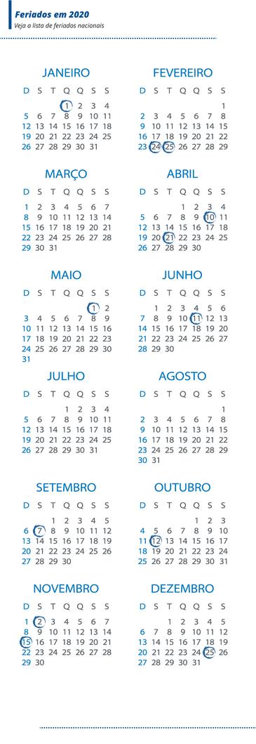 Ano novo terá 9 feriados nacionais em dias de semana
