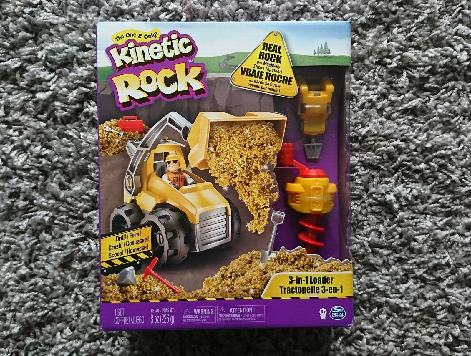Kinetic Sand Rock 3 in 1 Loader Play Set Digger Drill Crush Scoop Build Mould