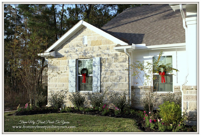 Farmhouse Christmas Porch-Suburban Farmhouse-Board and Batten Shutters- Window Wreaths-From My Front Porch To Yours