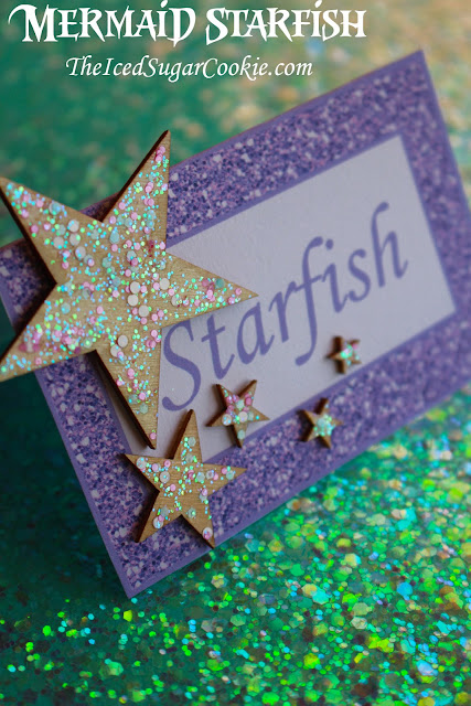 Mermaid Under The Sea Birthday Party Food Label Tent Cards and Wooden Stars -TheIcedSugarCookie.com DIYBirthdayBlog.com