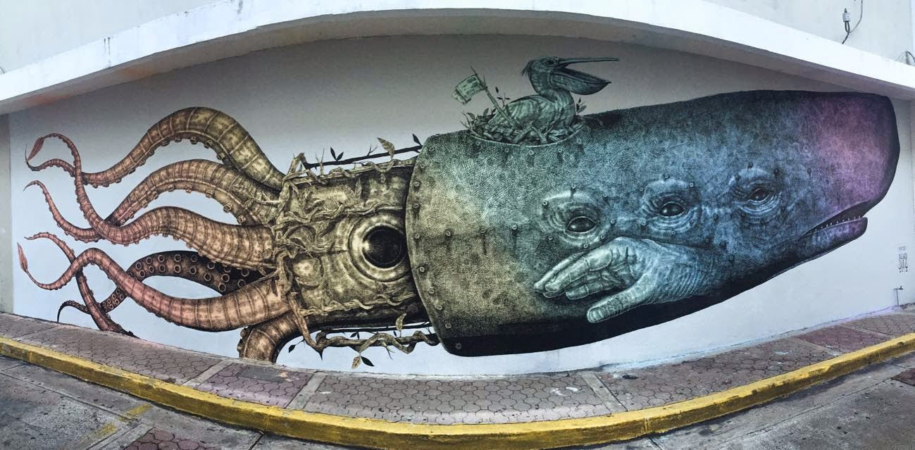 Alexis Diaz is back on the island of Puerto Rico where he spent the last few days working on this intricate piece on the streets of Bayamon.