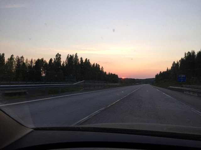 Sun rise on the road to fishing spot