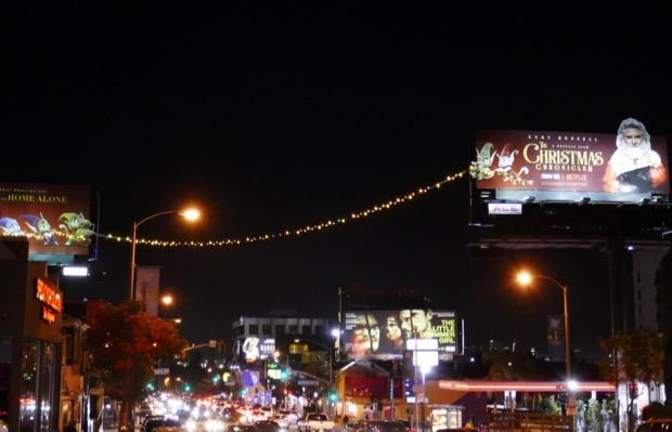Christmas Chronicles lights billboard installation Sunset Strip