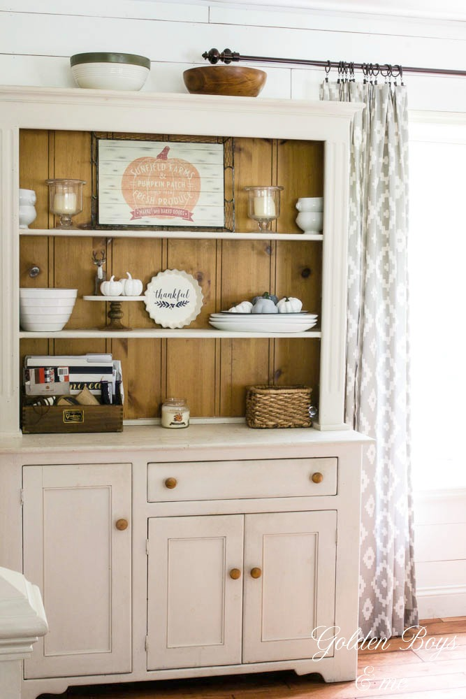 Chalk painted pine farmhouse hutch in fall dining room