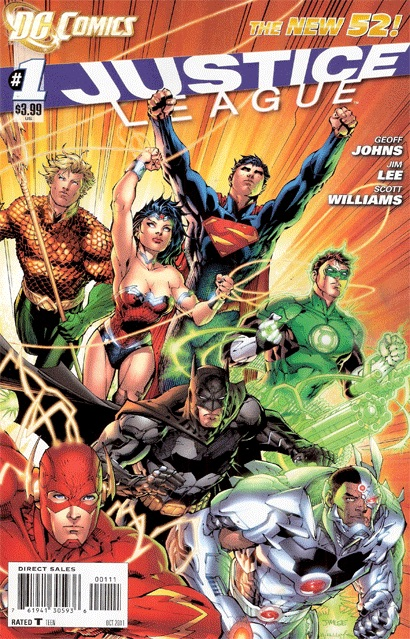 Group shot of Flash, Aquaman, Wonder Woman, Superman, Green Lantern, Batman, and Cyborg flying or running forward under trade dress including series logo and 'The New 52!' banner