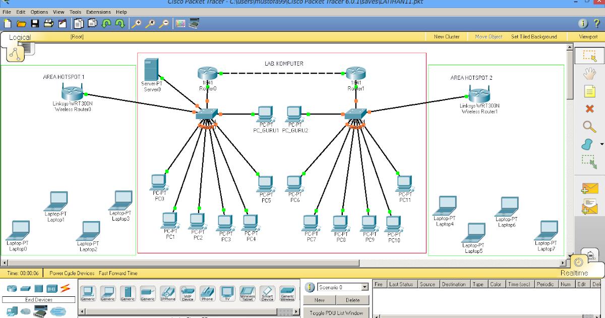Membuat Topologi Jaringan Sekolah di Cisco Packet Tracer