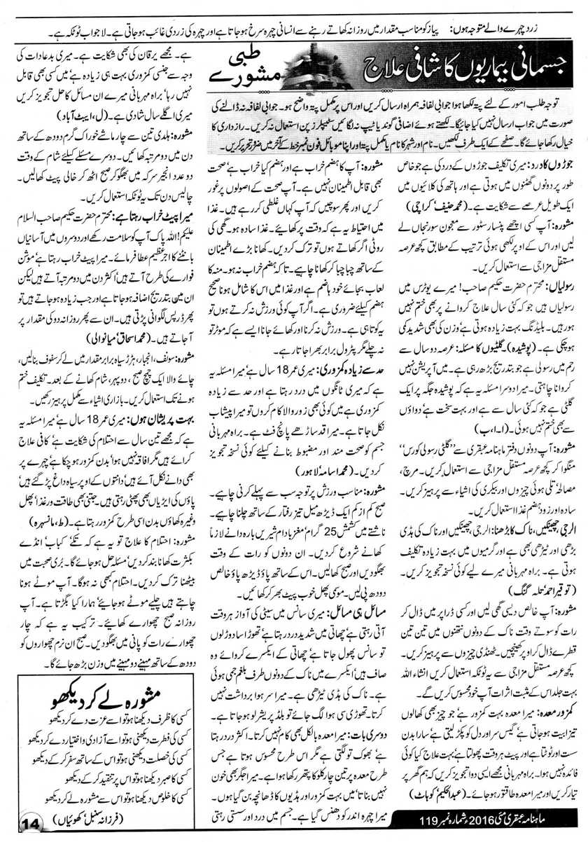 Tibbi Mashwaray Ubqari Mag May 16