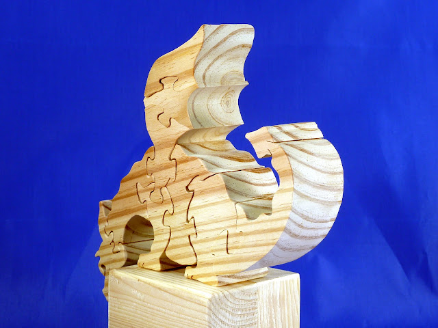 Left Rear - Wooden Toy Puzzle - Dragon - Yellow Pine - Unfinished - 7.5x6x15 Inches