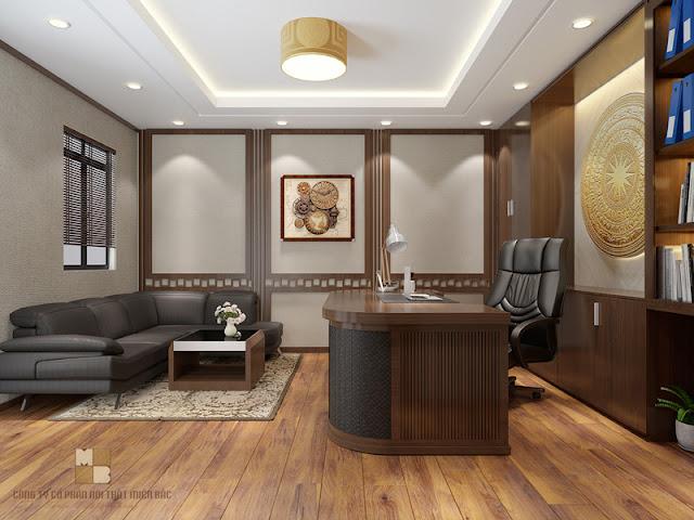 Thiết kế nội thất phòng giám đốc bố trí một bộ bàn ghế sofa bọc da cao cấp trong căn phòng, đối diện với bàn giám đốc vừa đảm bảo tính thẩm mỹ vừa tạo sự tiện dụng cần thiết