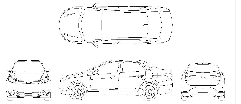 William Arquiteture Design: Bloco AutoCAD: Fiat Grand Siena