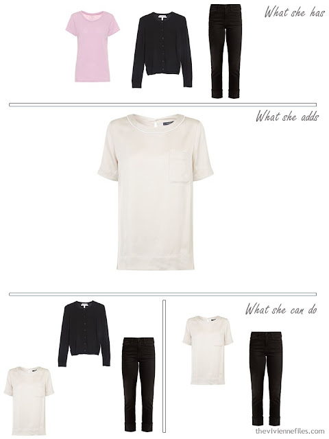 adding an ivory tee shirt to a capsule wardrobe