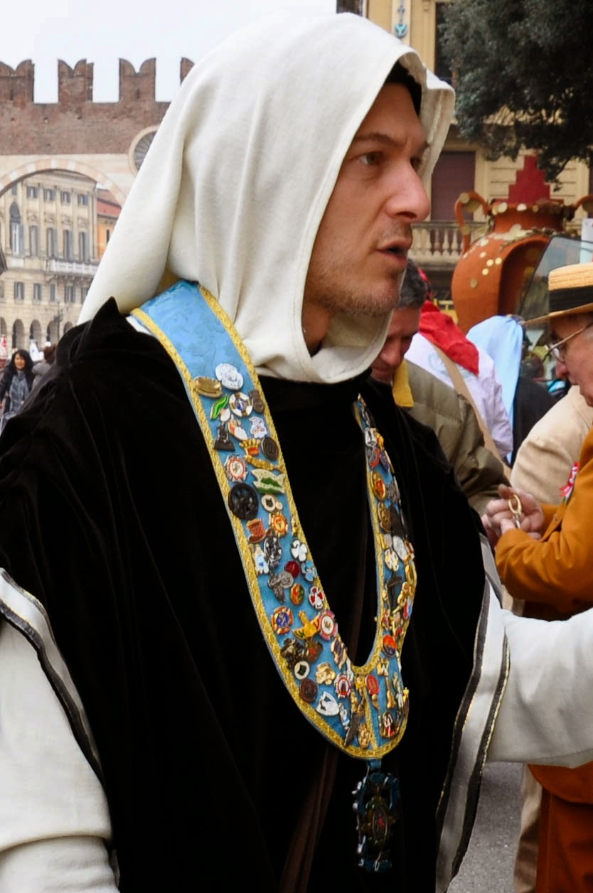 A man in costume at Verona Carnival