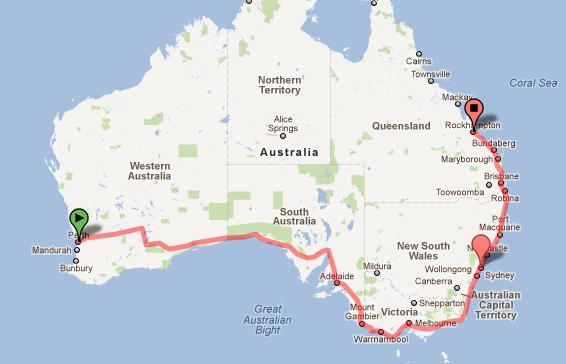 Viagem de carro alugado na Austrália - Perth