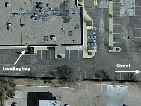 Satellite image of adandoned hotel with hidden loading bay