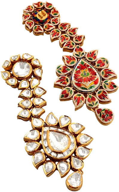 Entice Taraash Kundan Polki Pear-shaped Drop Earring Enameled Back