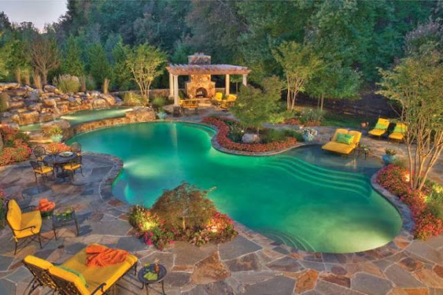Mediterranean landscape Design With Swimming Pool