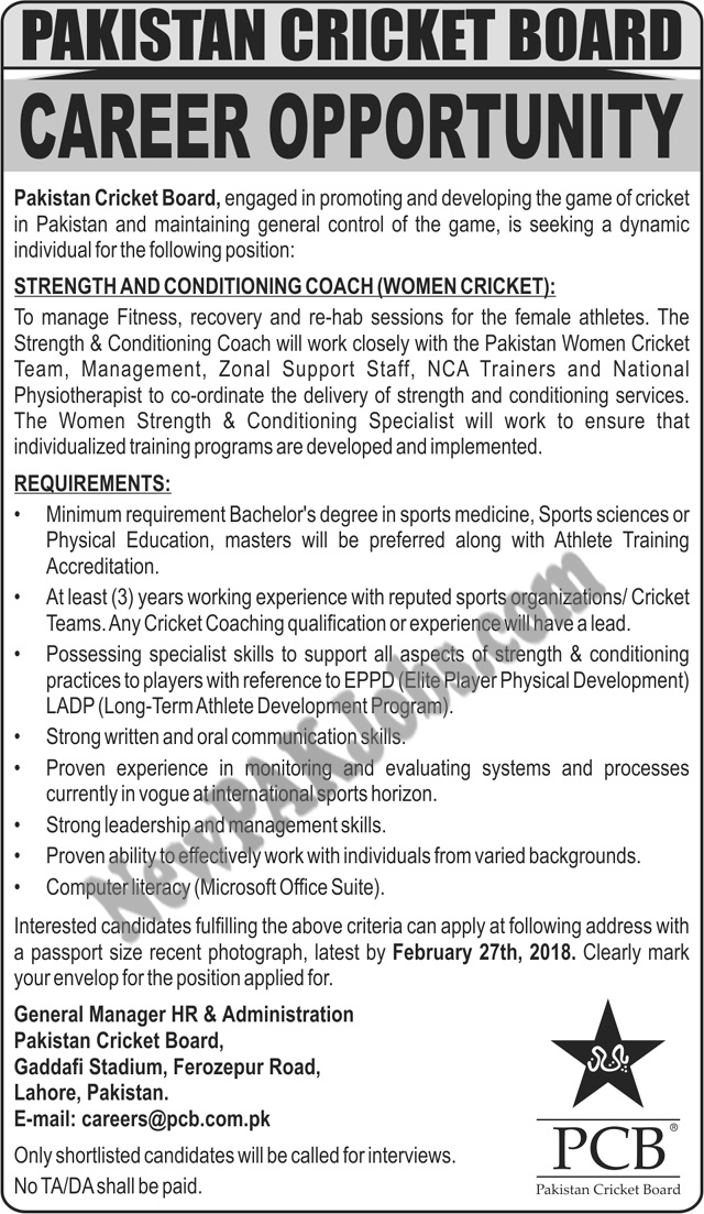 New Latest Jobs in Pakistan Cricket Board (women Coach), 12 Feb 2018