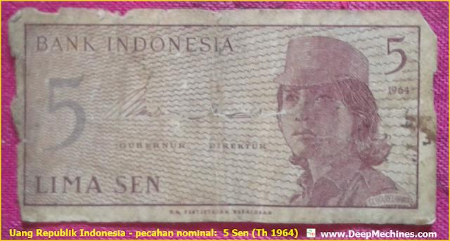 Gambar Uang RI Pecahan 5 Sen pembuatan Th. 1964