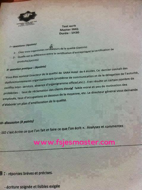 Exemple Concours Master Ingénierie et Management de la Qualité (IMQ) - Fsjes Tanger