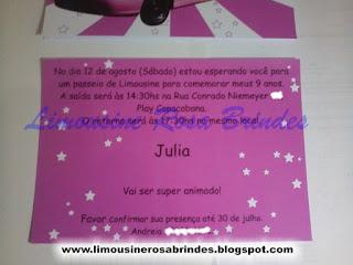 convite limousine rosa, brinde limousine rosa, lembrancinha limousine rosa, festa limousine rosa, tema limousine rosa, limousine rosa brindes