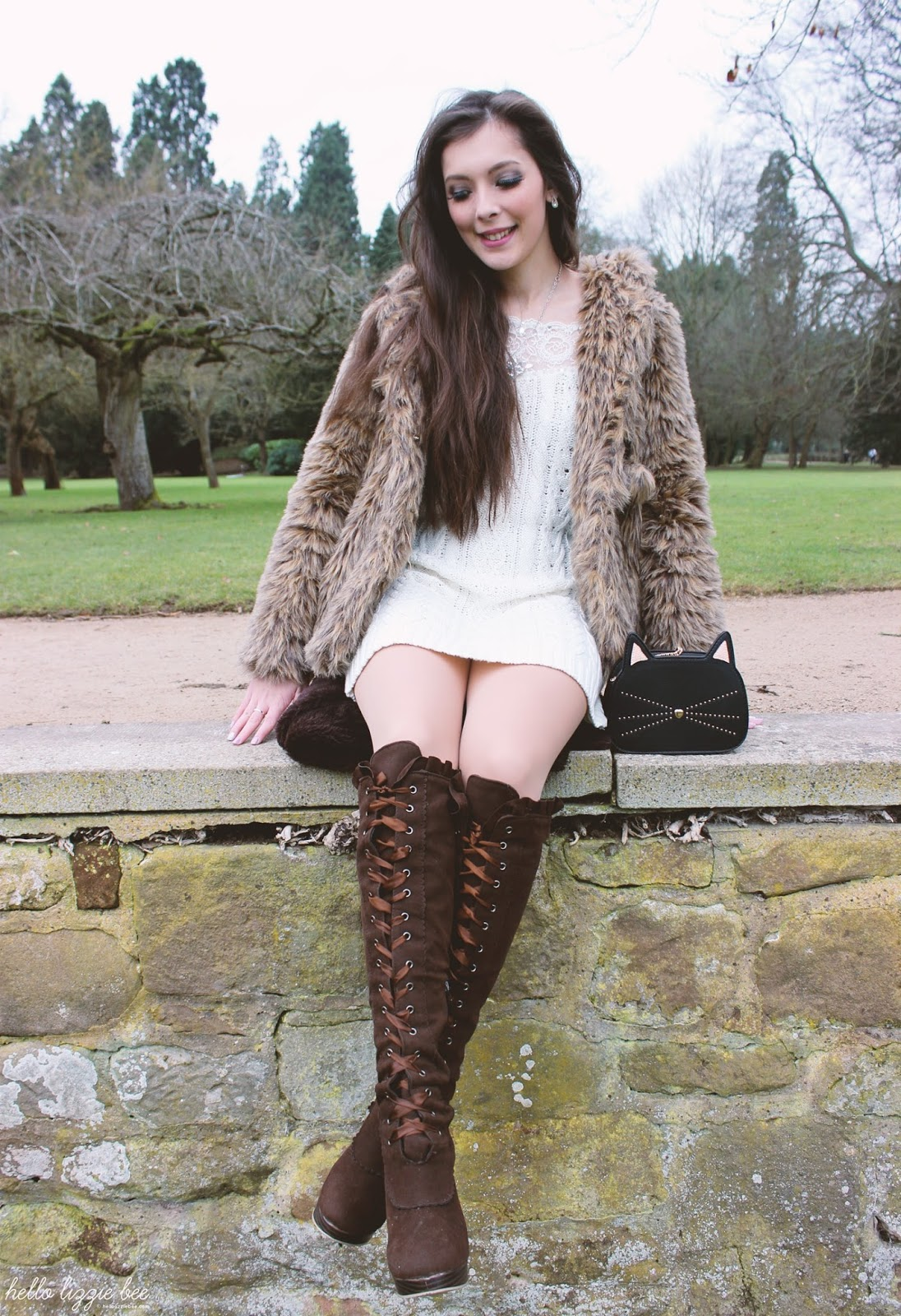 leopard print and over the knee boots, gyaru winter outfit