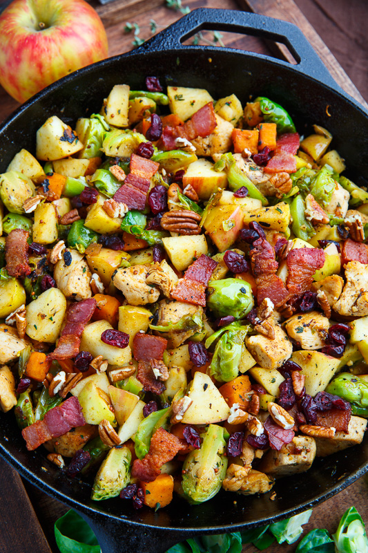 harvest skillet chicken with apples brussels sprouts and
