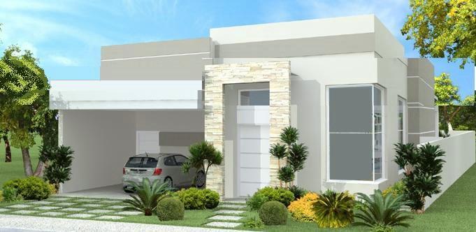 Construindo minha casa clean fachadas de casas quadradas for Modelos de casas fachadas fotos