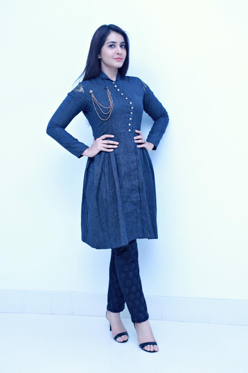 Rashi Khanna Hot Photo shoot In Full Blue Dress