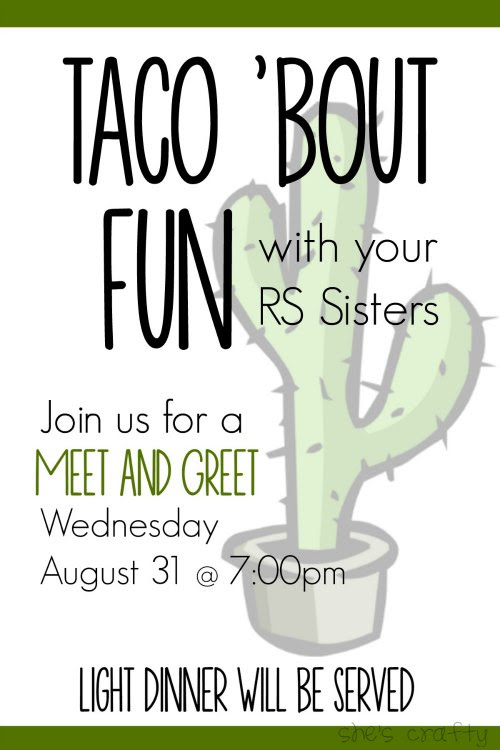 Taco Bar Relief Society Party Idea - Taco 'Bout Fun meet and greet invitation