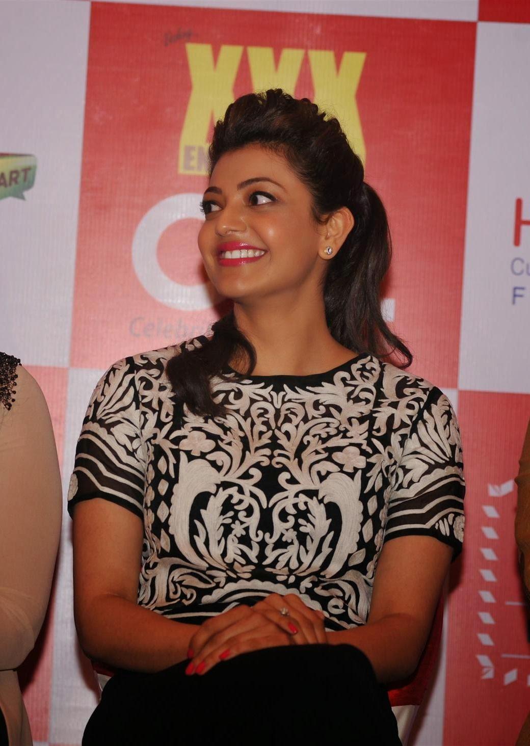Kajal Agarwal Hot Stills In Black Dress