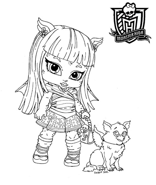 Monster High Coloring Pages Baby Skelita Coloring For Kids   Az Coloring  Pages