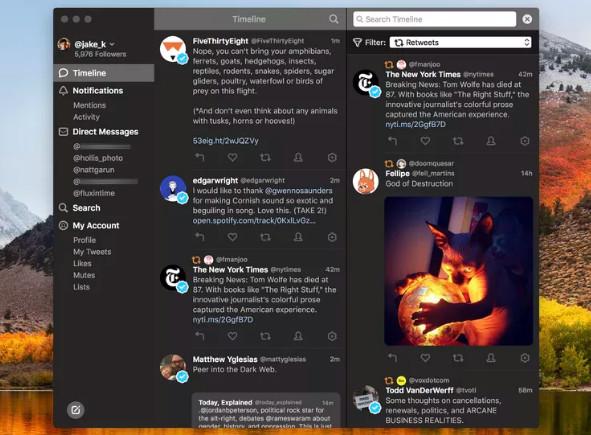 أضافات جديدة من Tweetbot 3 لنظام التشغيل Mac - الوضع المعتم ومرشحات الخط زمني ومعاينات الفيديو