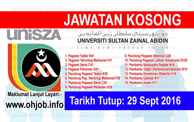 Jawatan Kerja Kosong Universiti Sultan Zainal Abidin (UniSZA) logo www.ohjob.info september 2016