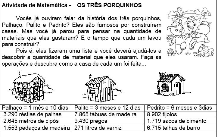 Sequencia Didatica Os Tres Porquinhos Matematica Hora De