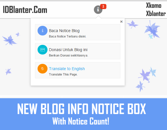Membuat Notice Box Blog Info dengan Count di Blog