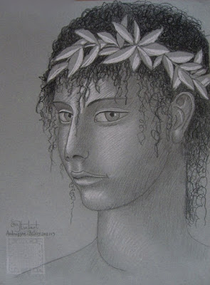 hermès, dessin, crayon, craie, androgyne, graphite