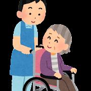 車いすを押す介護士のイラスト