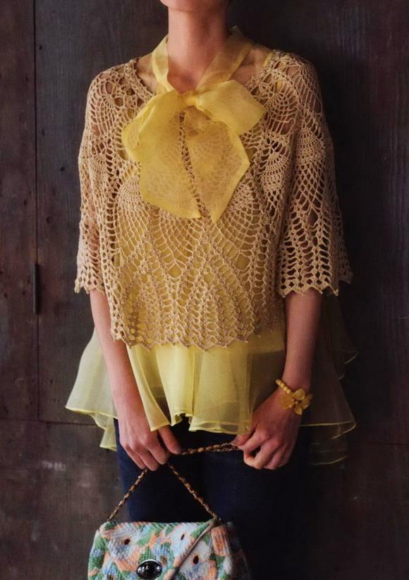 crochet poncho sweater for woman, pineapple crochet lace