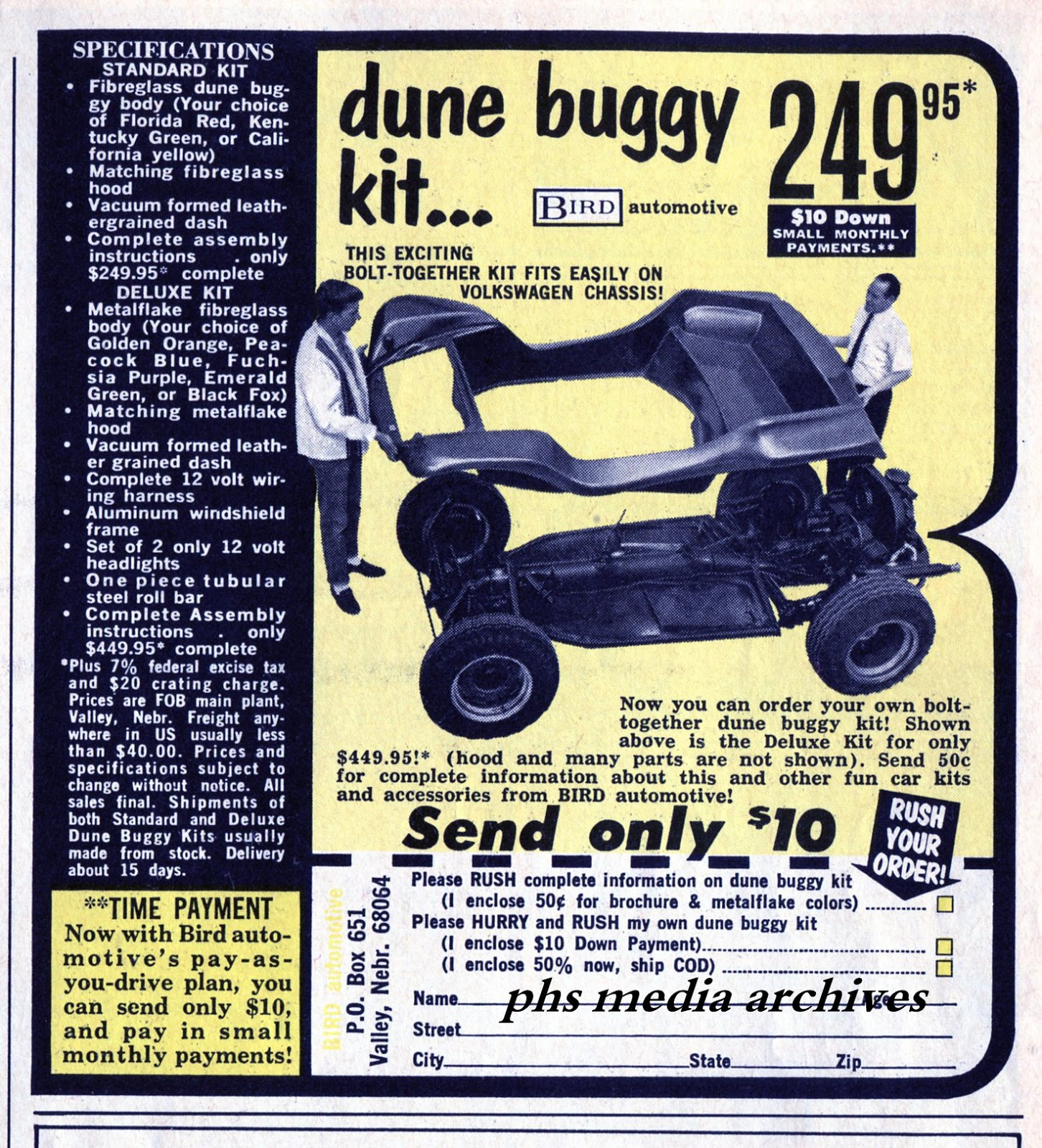Summer Special On 1960s Dune Buggy Kits Phscollectorcarworld 1967 Vw Beetle Simple Wiring Diagram Bird Engineering Was One Of The Older Fiberglass Makers Era Their Kit Looks Suspiciously Similar To A Meyers Manx