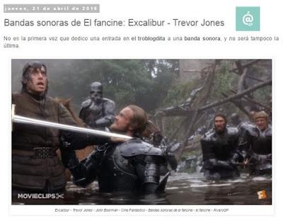 Lo + leído en el troblogdita - abril 2016 - ÁlvaroGP - el troblogdita - el fancine - Banda Sonora de Excalibur - Trevor Jones
