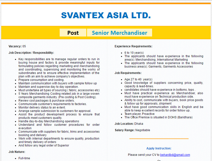 Svantex Asia Ltd  Position Senior Merchandiser  Job Circular