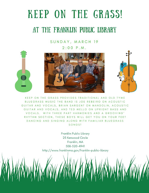 Keep on the Grass - Concert Sunday Mar 19, at the Franklin Library