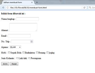 tutorial belajar HTML membuat form