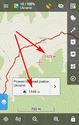 Высота местности в центре карты и в произвольной точке