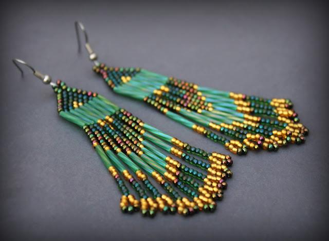 купить серьги этническом стиле оригинальные серьги зеленого цвета