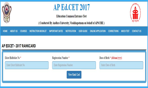 AP Ed.CET 2017 Rank Cards