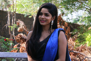 Actress Divya Bharthi Stills IN Blue Saree at Mupparimanam Press Meet Stills  0006.jpg