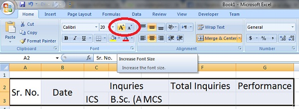 Increase font size in excel worksheet