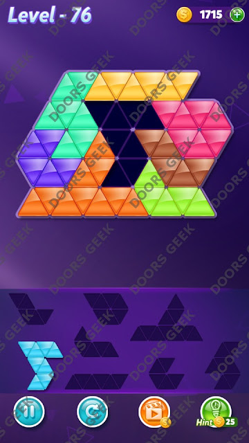 Block! Triangle Puzzle Expert Level 76 Solution, Cheats, Walkthrough for Android, iPhone, iPad and iPod